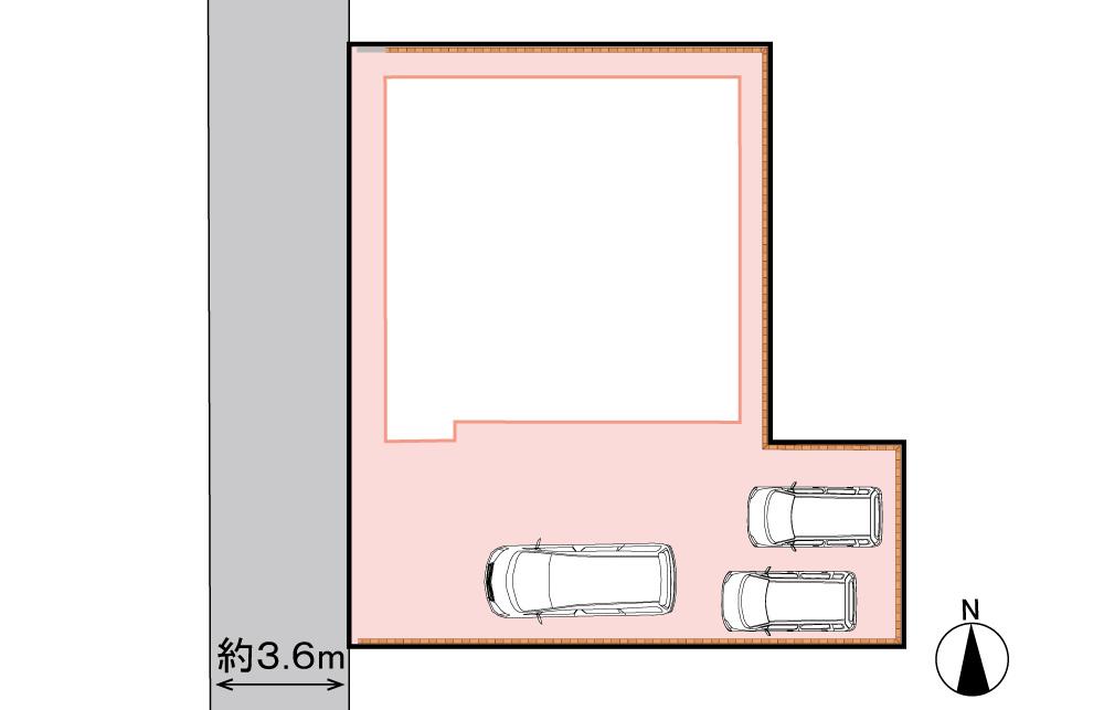 区画図<br> 駐車3台可能。