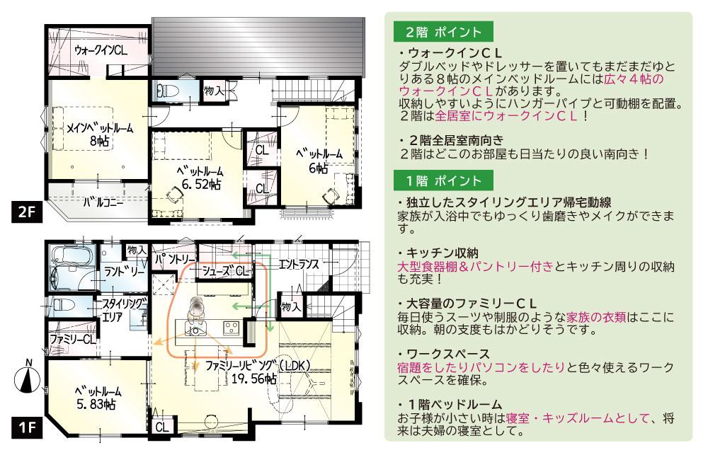 間取図<br> #駐車3台 #洋室をあけると1階は25帖のひろびろ空間に。 #1階5.8帖以上の洋室 #ダイニング横カウンター #キッチン→玄関への動線 #玄関→パントリーへの動線 #家族共有1.5帖のファミリーCL #2階南面インナーバルコニー #2階は6帖以上の3部屋