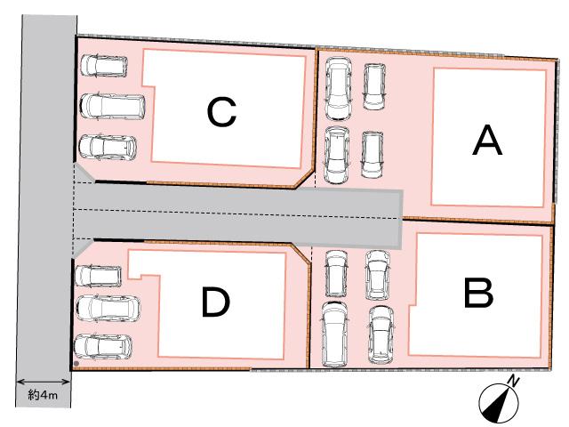 全体区画図<br> 全4区画の土地・分譲地です。
