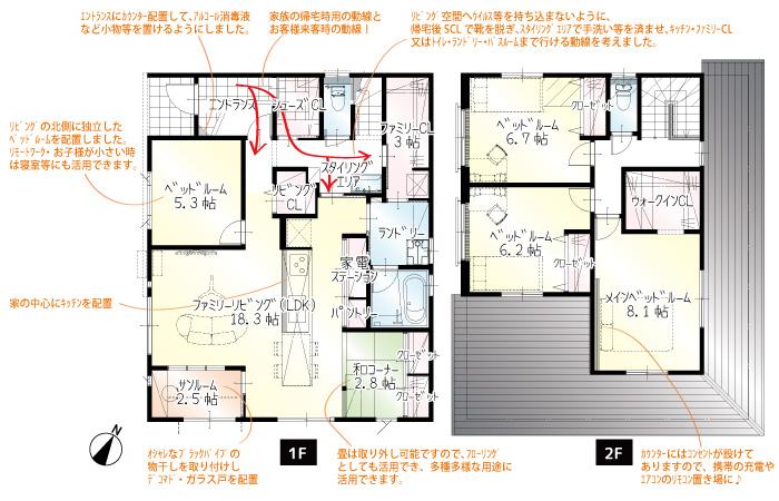 間取図<br> リビングエアコン・全室LED照明・家具付き/朝日ウッドテックの抗ウイルスフローリング採用