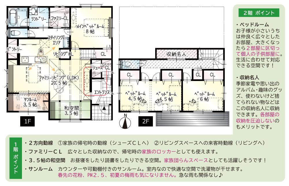 間取図<br> #駐車4台 #1階サンルーム #1階8帖の寝室 #サンルーム横和空間 #2階9帖の洋室 #収納名人
