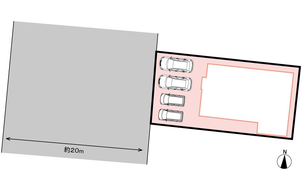 全体区画図<br> 駐車4台。新築・分譲地です。