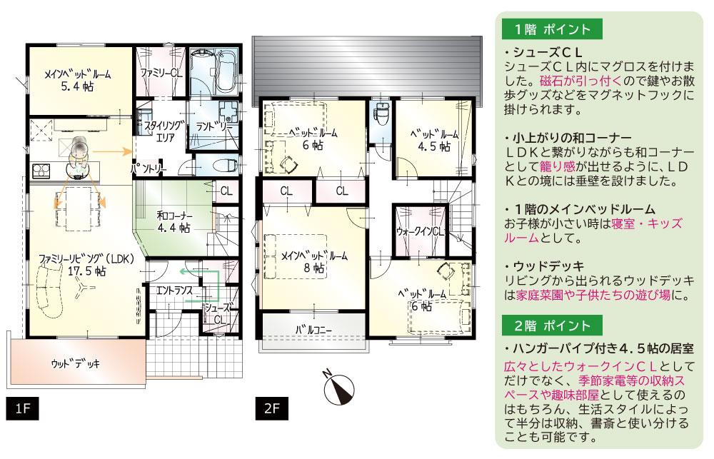 間取図<br> #駐車3台 #リビング階段 #直線型LDK #キッチン近くに和コーナー #和コーナーあわせて21帖以上 #1階に5.4帖の一部屋 #納戸としても使える4.5帖の部屋(2階) #南面バルコニー #ウッドデッキ付き