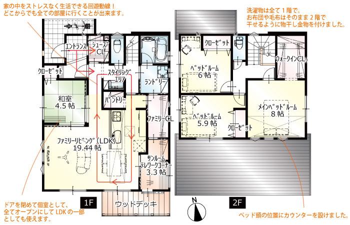 間取図<br> #駐車4台 #回遊動線 #洗濯動線 #1階サンルーム #1階4.5帖の和室 #ウッドデッキ