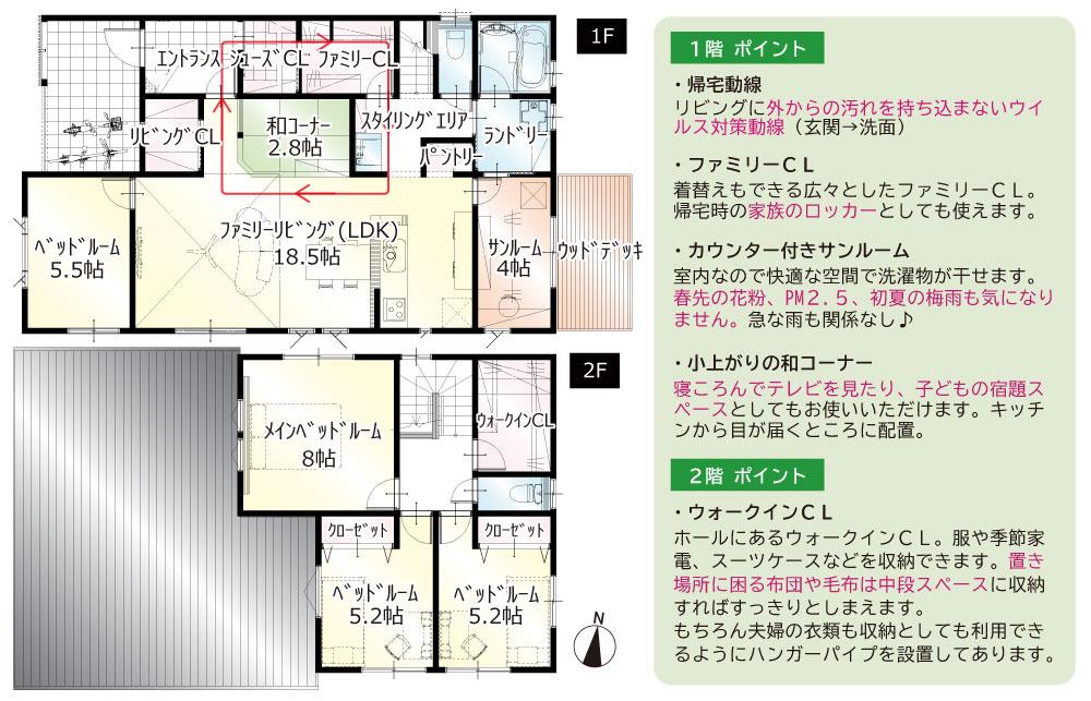 間取図<br> #駐車5台以上 #手洗い動線 #直線型LDK+和コーナー #1階5.5帖洋室 #1階サンルーム #ウッドデッキ