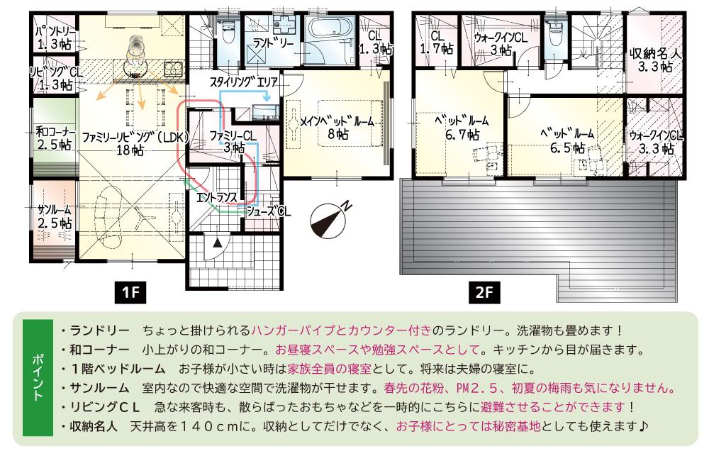 間取図<br> #駐車4台可能 #2.5帖の和コーナー #1階に8帖のメインベッドルームあり #手洗い動線 #サンルーム #収納名人
