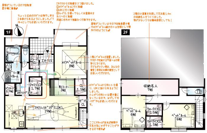 間取り図<br> #1階で生活ができる平屋風の家 #作業台付きの広々ランドリー #1階に8帖のベッドルーム #屋外テラス #和コーナー #収納名人 #「朝日ウッドテック」の抗ウイルス床材