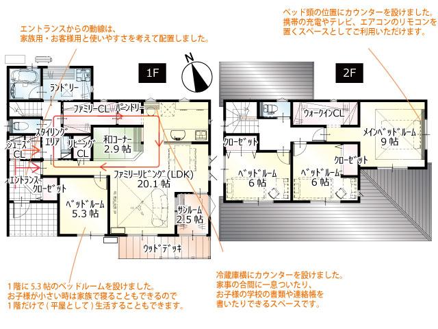 間取図<br> #駐車4台 #手洗い動線 #回遊動線 #1階5.3帖洋室 #キッチン横和コーナー #1階サンルーム #ウッドデッキ