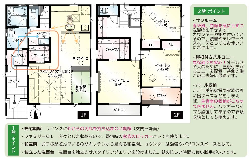 間取図<br> #駐車3台 #手洗い動線 #リビングに和空間 #ダイニング横カウンター #2階バルコニー #2階サンルーム
