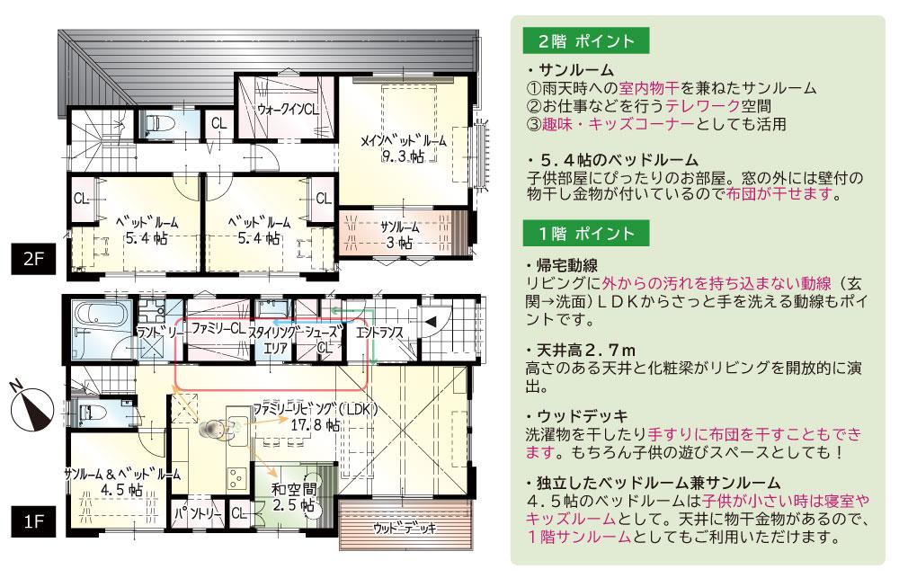 間取図<br> #駐車3台 #玄関→水まわり動線 #ダイニング横和空間 #1階4.5帖洋室(サンルーム) #ウッドデッキ #2階サンルーム