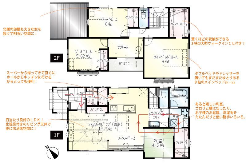 間取図<br> #駐車3台 #エントランス→キッチン #買い物の荷物をすぐにパントリーへ #ダイニング横広々カウンター #1階4.5帖の和室 #2階9帖寝室 #2階サンルーム&バルコニー付き