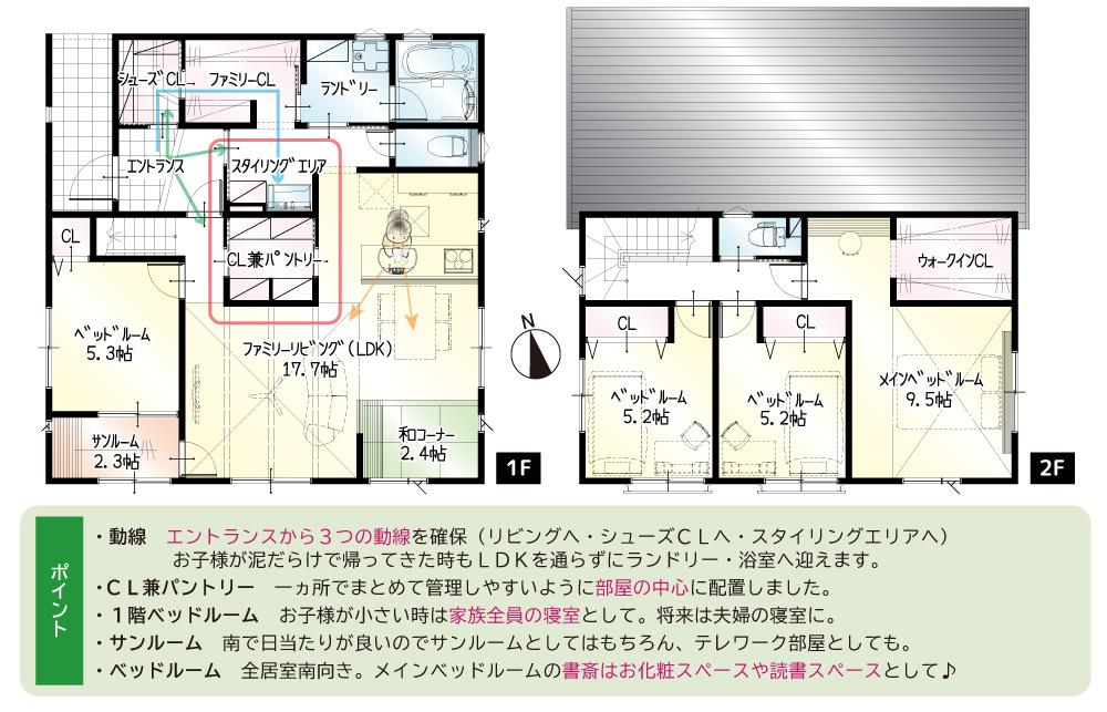 間取図<br> #駐車5台 #1階5.3帖洋室 #1階和コーナー #1階サンルーム #収納豊富 #2階9.5帖ワークスペース付き寝室